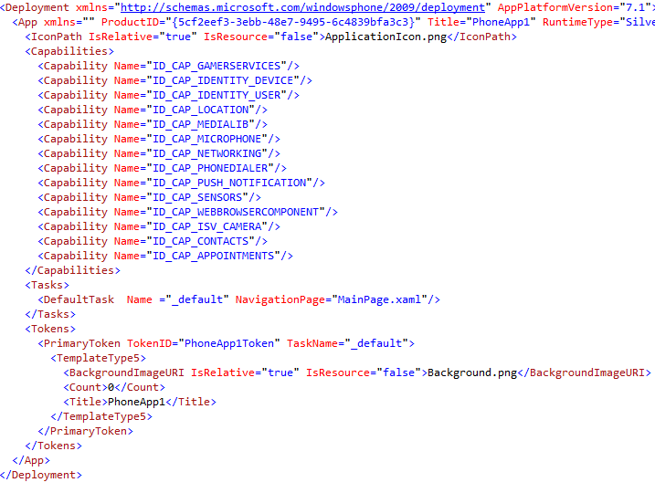 Edit the raw XML to make changes in Windows Phone 7